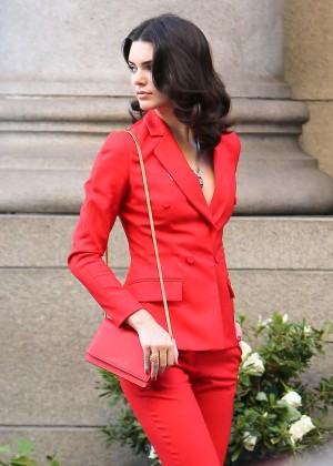 Kendall Jenner in Red Suite on a Photoshoot in LA