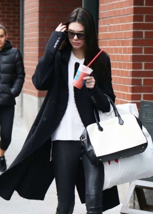 Kendall Jenner in Leather Pants - Out & About in NYC