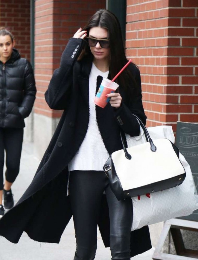 Kendall Jenner in Leather – Out & About in NYC