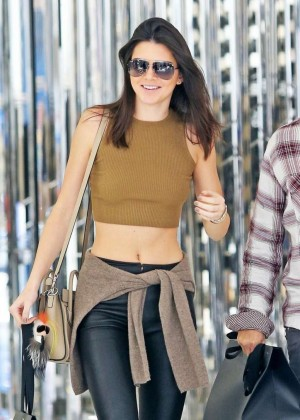 Kendall Jenner in Leather Pants - Shopping in Beverly Hills