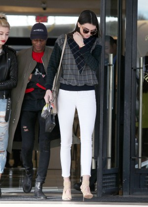 Kendall Jenner in White Pants Out in Beverly Hills