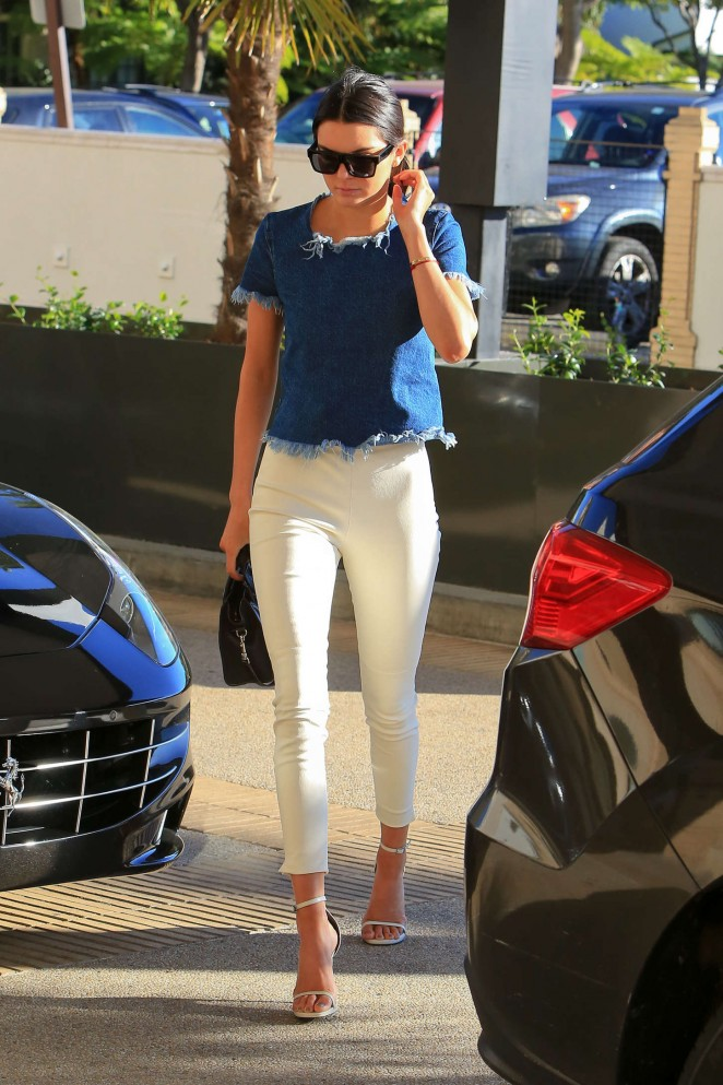 Kendall Jenner in Tight White Pants -13 - GotCeleb