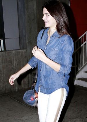 Kendall Jenner in White Leggings Leaving the cinema in Los Angeles