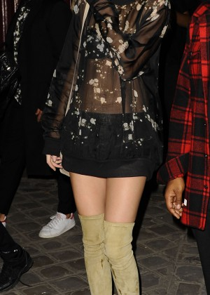 Kendall Jenner in Mini Dress out in Paris