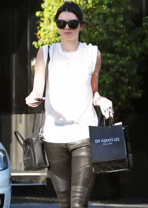 Kendall Jenner in Leather Out in Beverly Hills