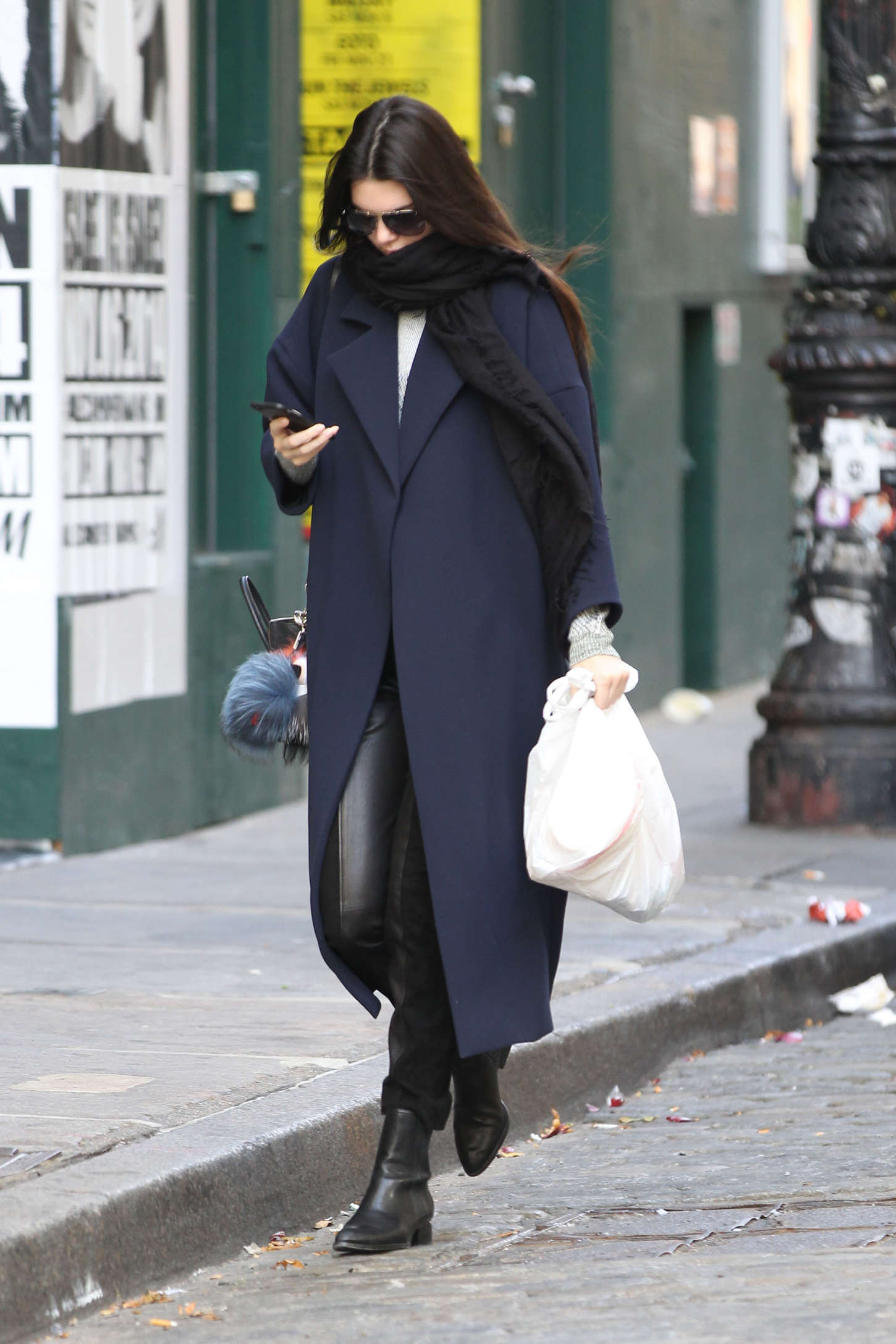 Kendall Jenner in Leather and Blue Coat out in NYC