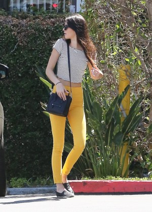 Kendall Jenner In Yellow Pants. -01