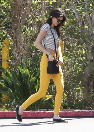 Kendall Jenner In Yellow Pants. -08