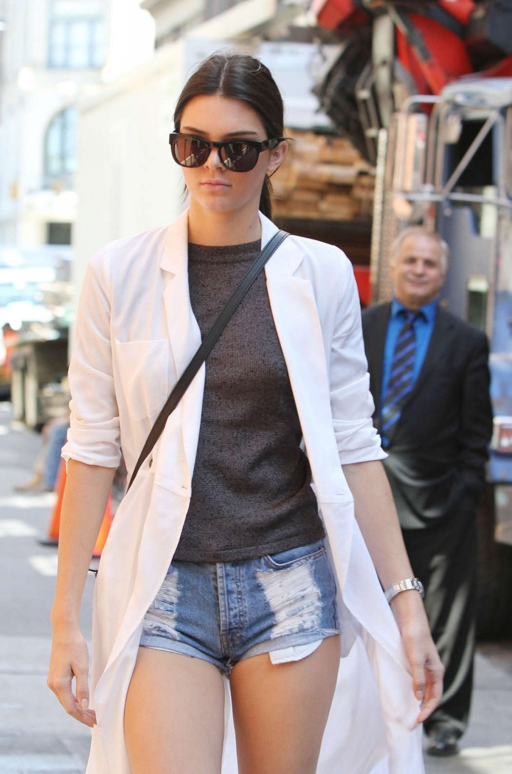 Kendall Jenner Leggy in shorts Seen Out in NYC