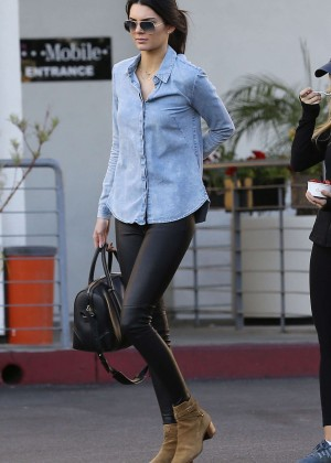 Kendall Jenner in Leather and Jeans Shirt Shopping in West Hollywood