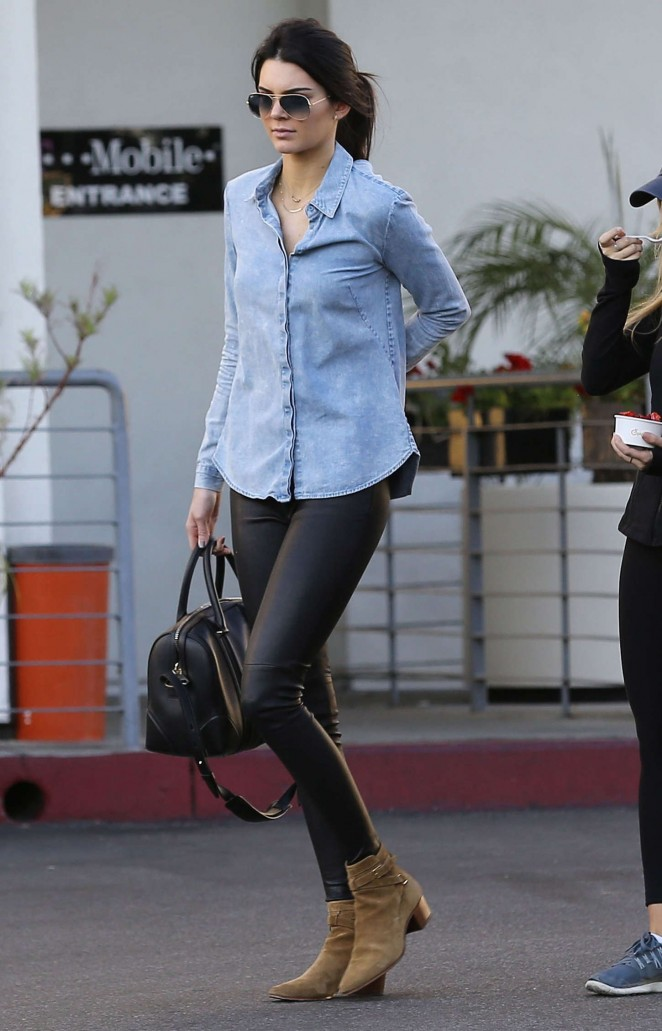 Kendall Jenner in Leather and Jeans Shirt -04