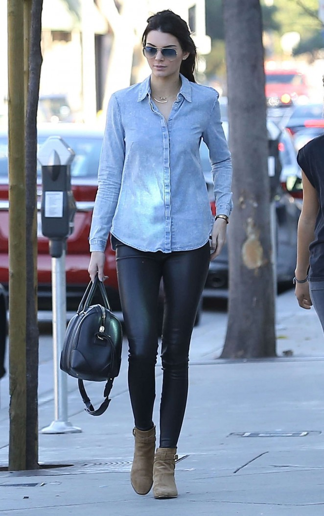 Kendall Jenner in Leather and Jeans Shirt -09
