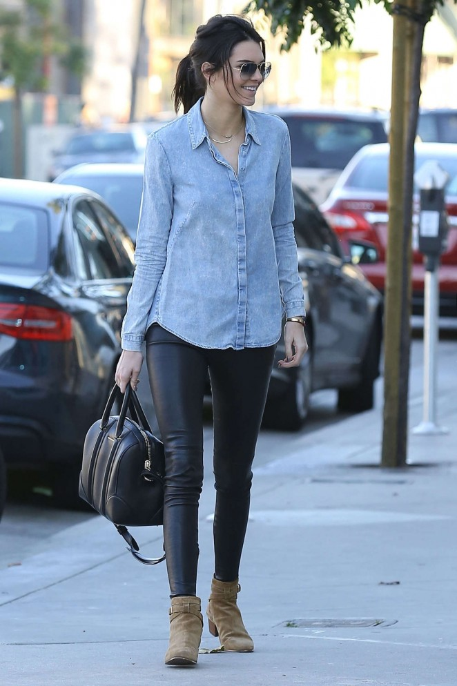 Kendall Jenner in Leather and Jeans Shirt -17