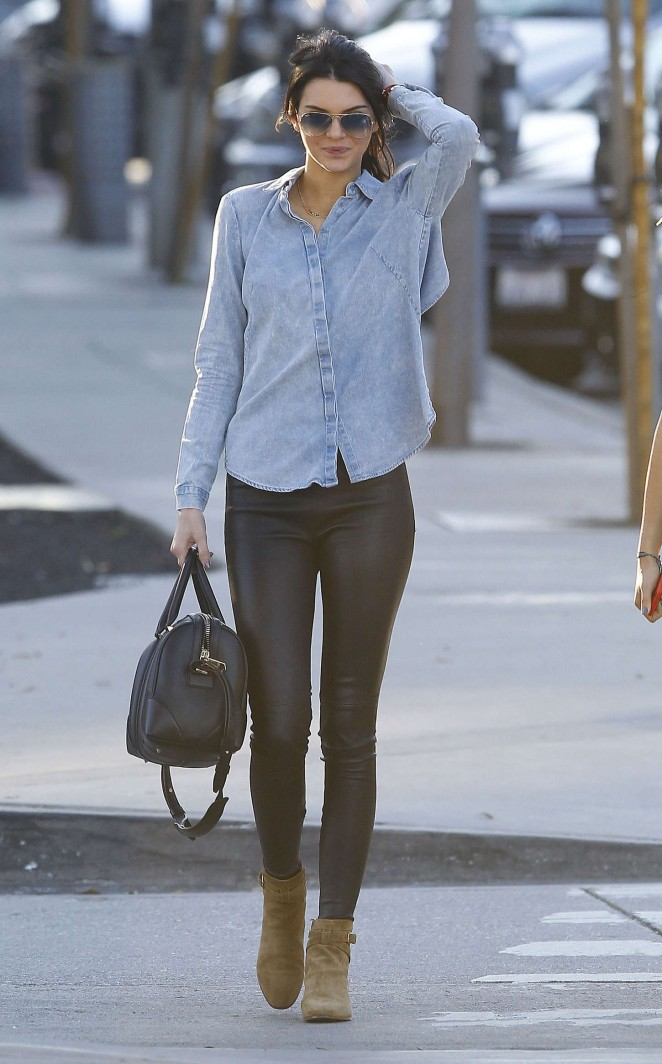 Kendall Jenner in Leather and Jeans Shirt -18