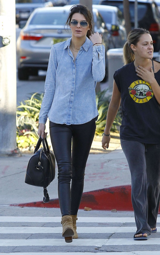 Kendall Jenner in Leather and Jeans Shirt -21