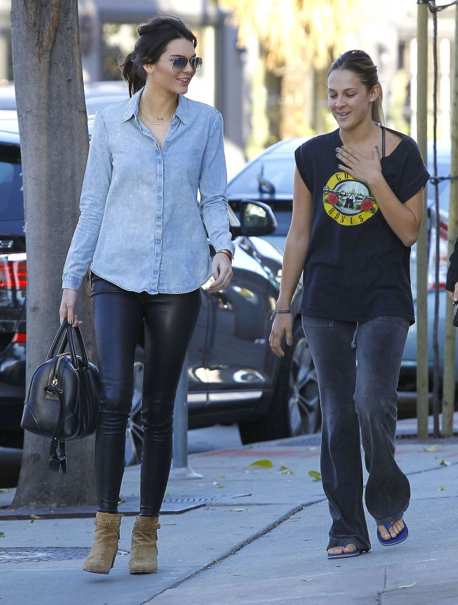 Kendall Jenner in Leather and Jeans Shirt -24