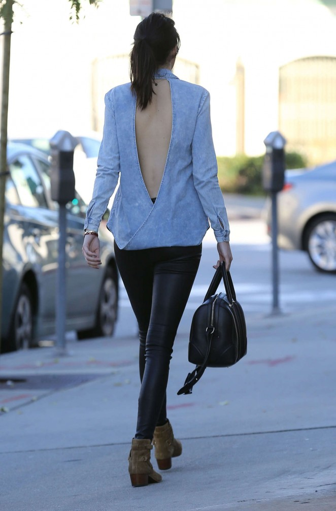 Kendall Jenner in Leather and Jeans Shirt -30