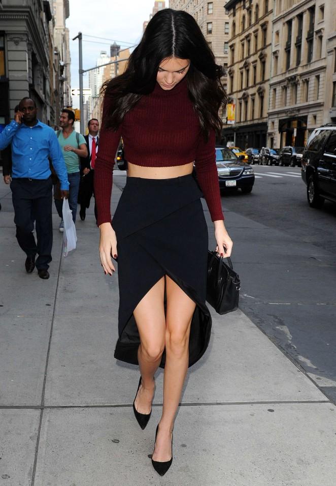Kendall Jenner Leggy in Black Skirt Out in Manhattan