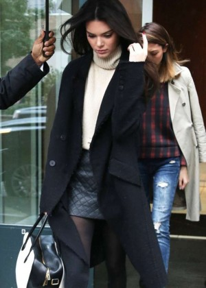 Kendall Jenner in Mini Skirt and Coat out in NYC