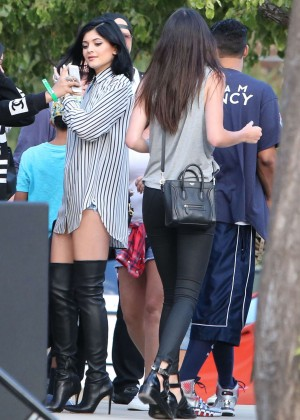 Kendall and Kylie Jenner - KickN It For Charity Celebrity Kick Ball Game -03