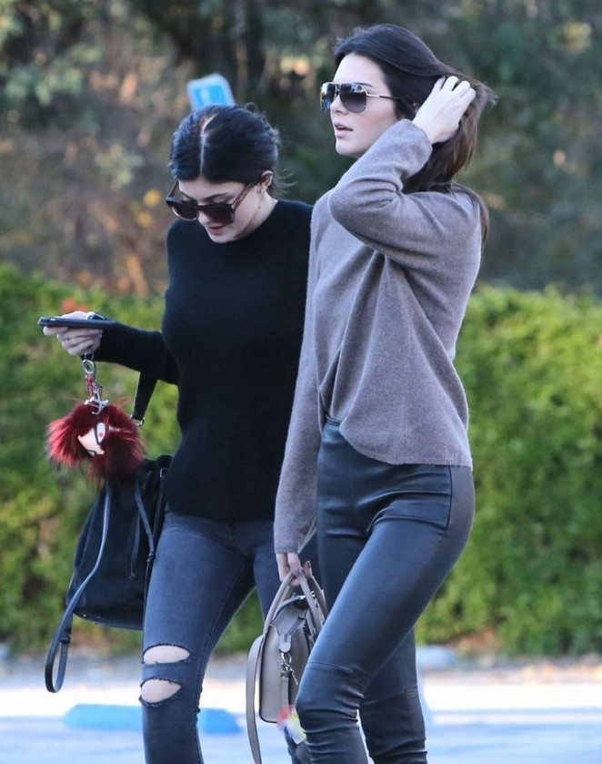 Kendall & Kylie Jenner in Tights Out for lunch in Calabasas