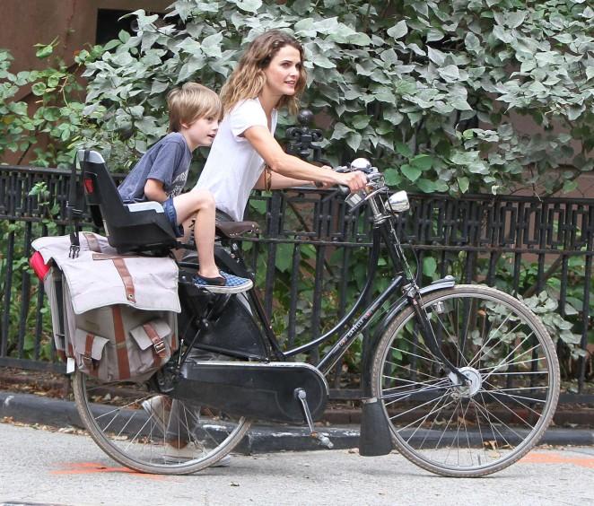Keri Russell 2014 : Keri Russell – Riding a Bike -01