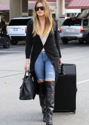 Khloe Kardashian in Tight Ripped Jeans at Burbank Airport