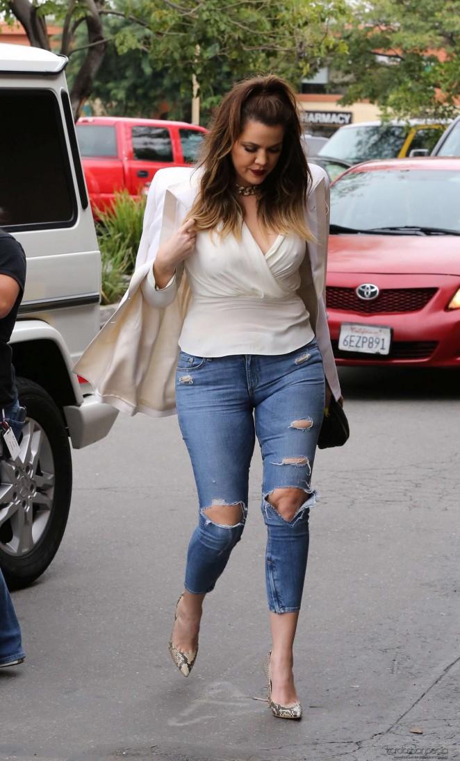 Kim Kardashian freshfaced leaving Epione Skin Care