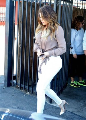 Khloe Kardashian in White Pants Leaving Bunim/Murray Productions Studio in Van Nuys