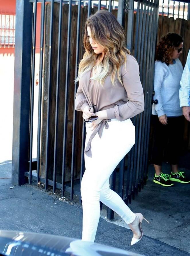 Khloe Kardashian in White Pants Leaving Bunim/Murray Productions Studio in Van Nuys