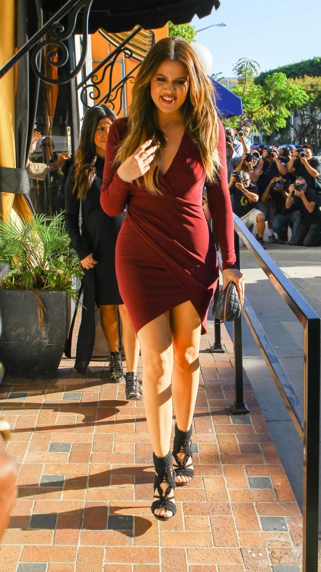 Khloe Kardashian in Tight Dress - Leaving La Bel Bambini in Beverly Hills