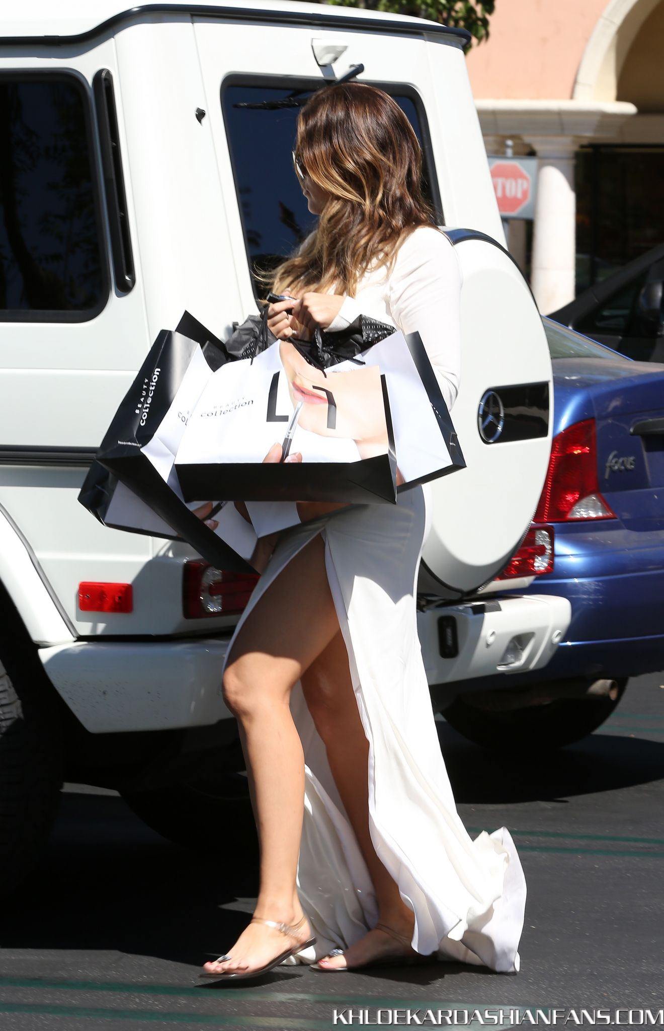 Khloe Kardashian in White Dress - Shopping in LA