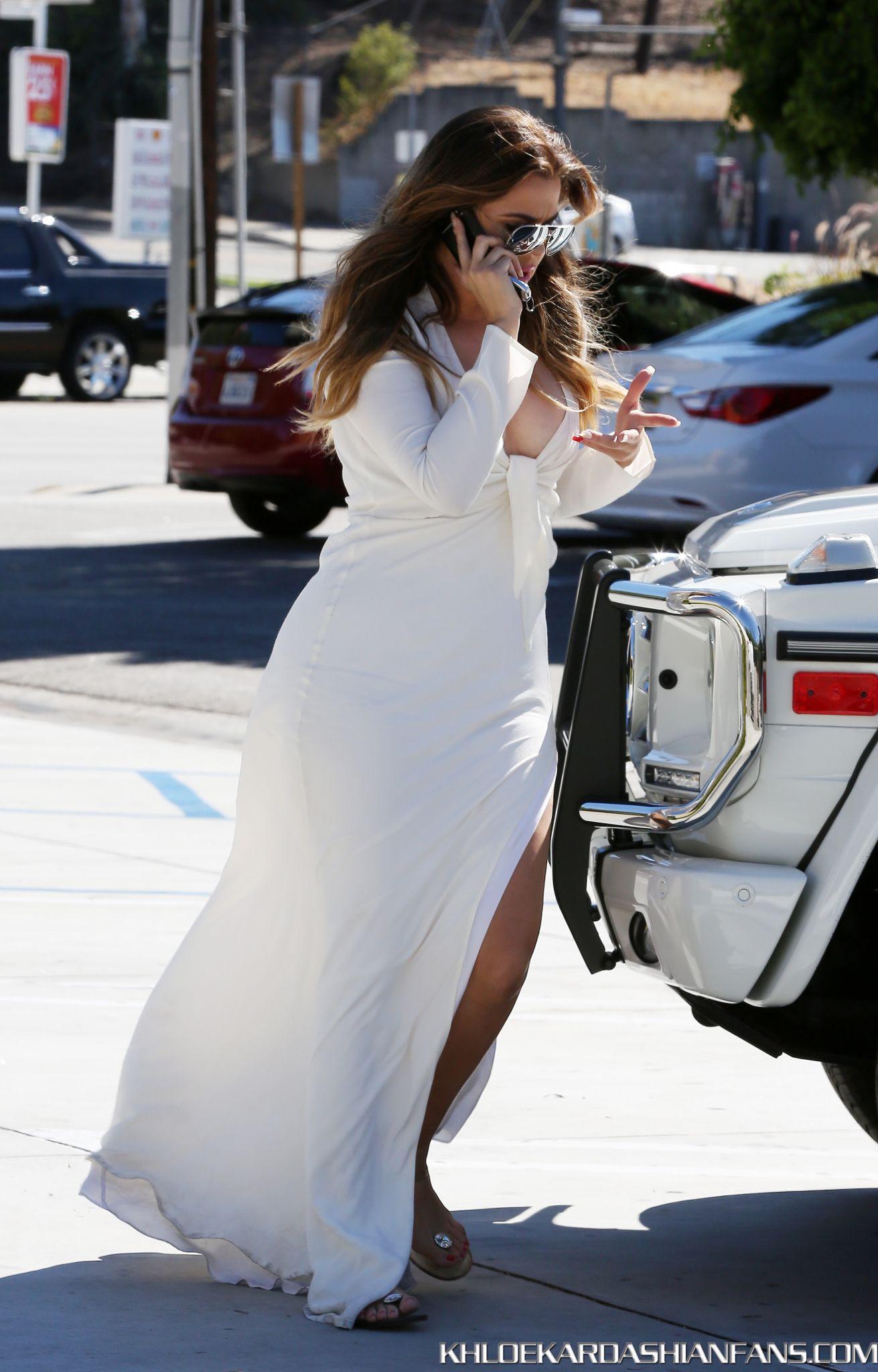 Khloe Kardashian 2014 : Khloe Kardashian in White Dress -14