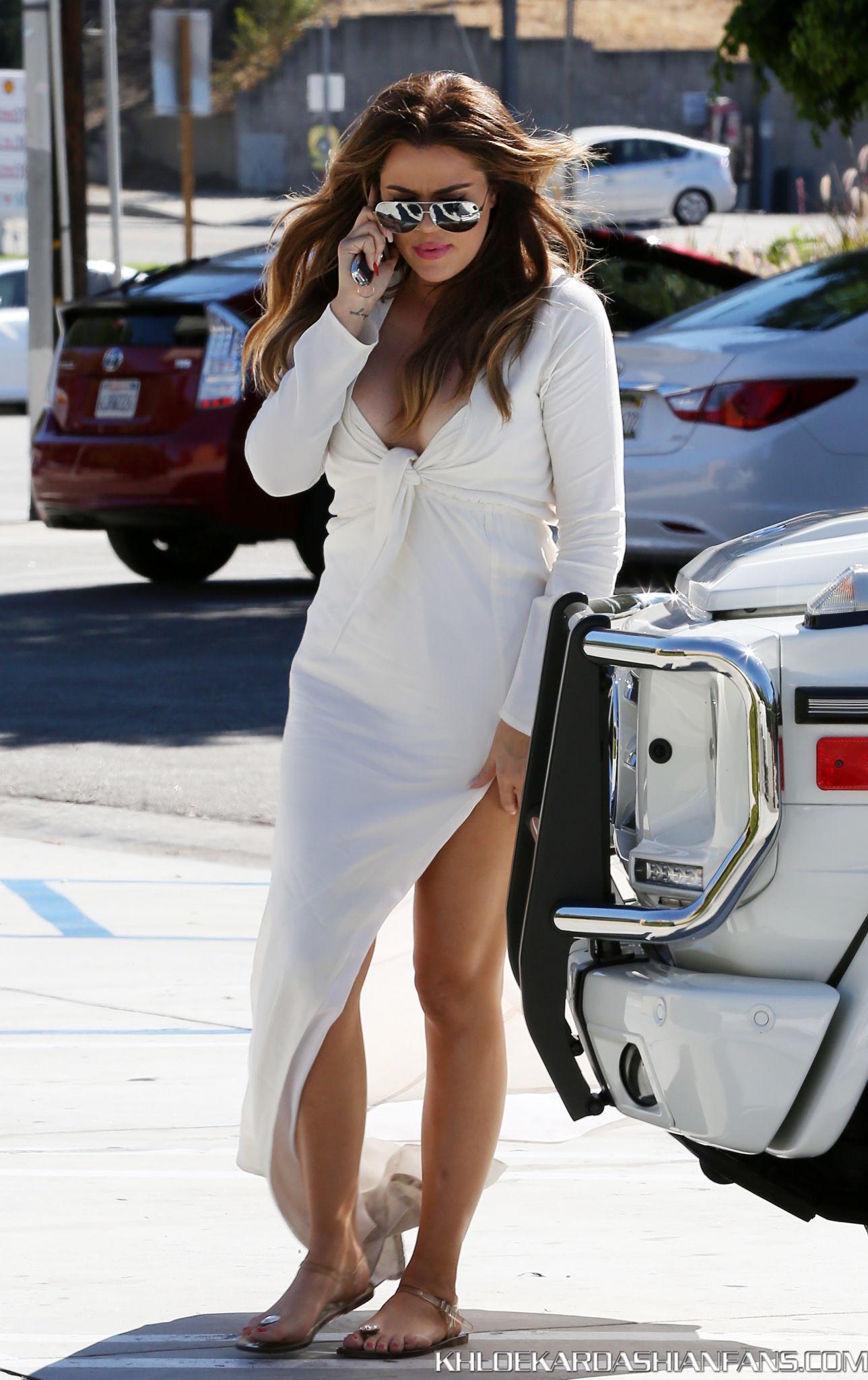 Khloe Kardashian 2014 : Khloe Kardashian in White Dress -15