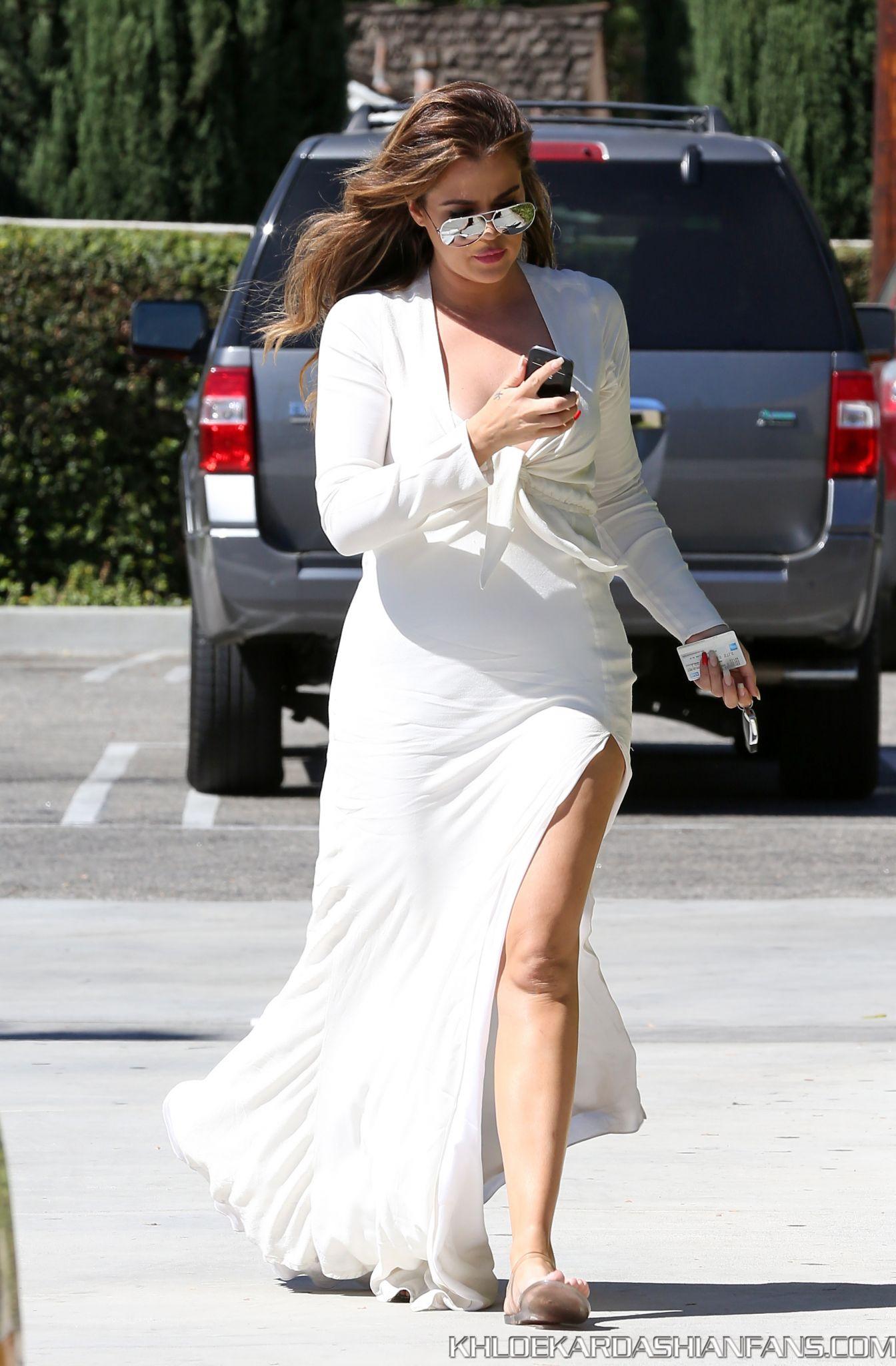 Khloe Kardashian 2014 : Khloe Kardashian in White Dress -20
