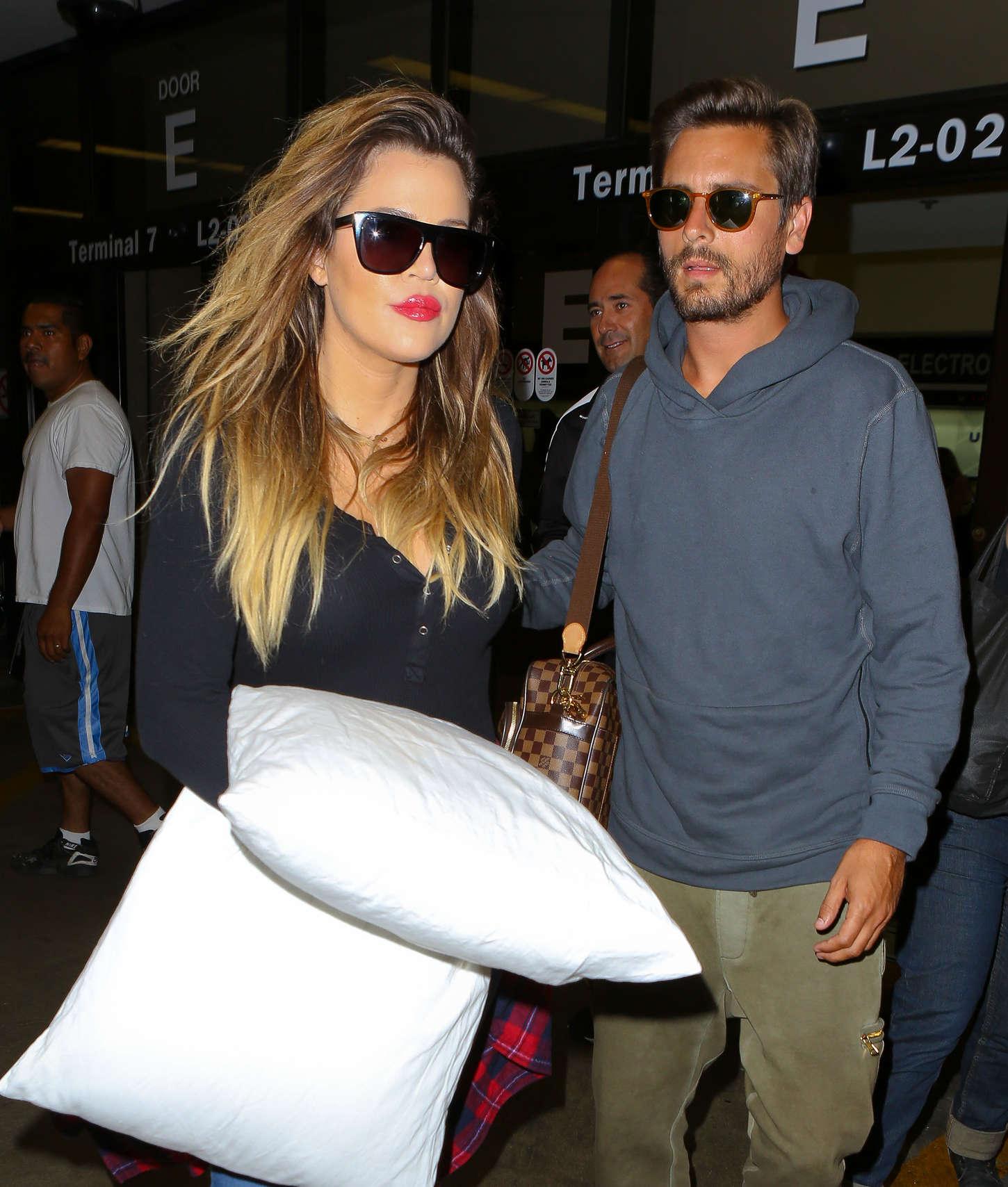 Khloe Kardashian 2014 : Khloe Kardashian with Scott Disick at LAX airport -12