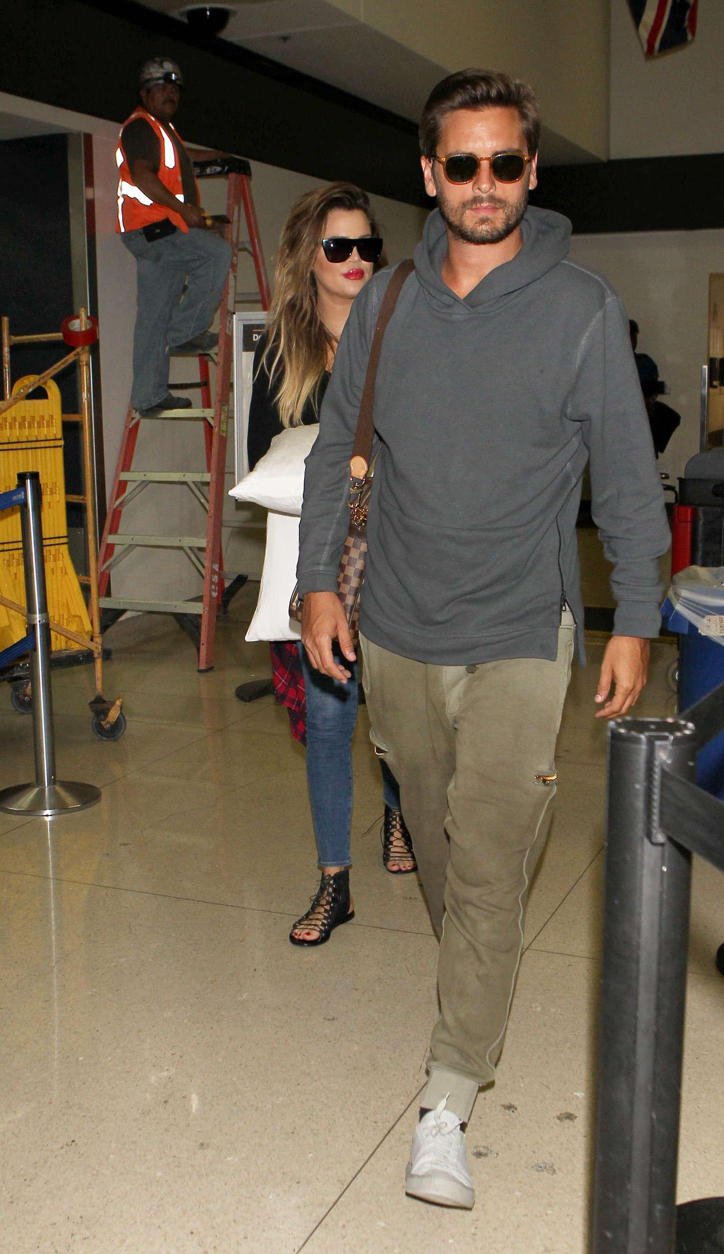 Khloe Kardashian 2014 : Khloe Kardashian with Scott Disick at LAX airport -18