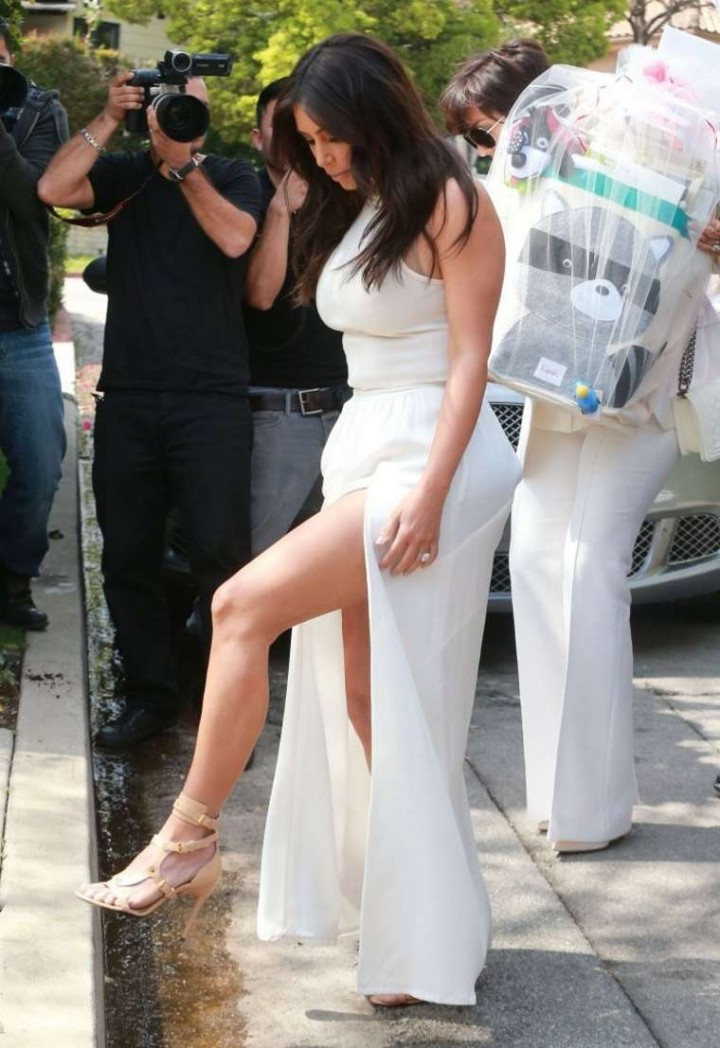 Kim Kardashian Leggy - at Ciaras Baby Shower -21