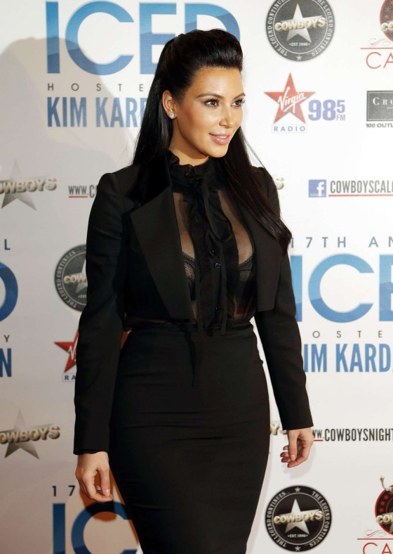 Kim Kardashian in tight black dress at Cowboys Iced event in Calgary 01/04/13
