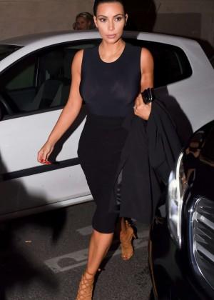 Kim Kardashian in Black at Ferdi Restaurant in Paris