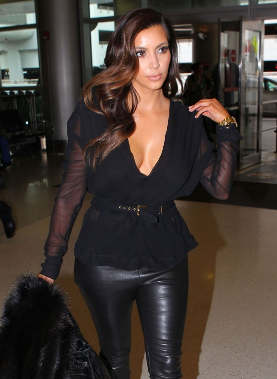 Kim Kardashian at Miami Airport in Leather Pants