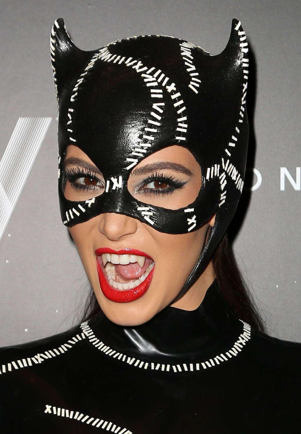 Kim Kardashian - Cat Woman Costume at Halloween Party-15 - GotCeleb