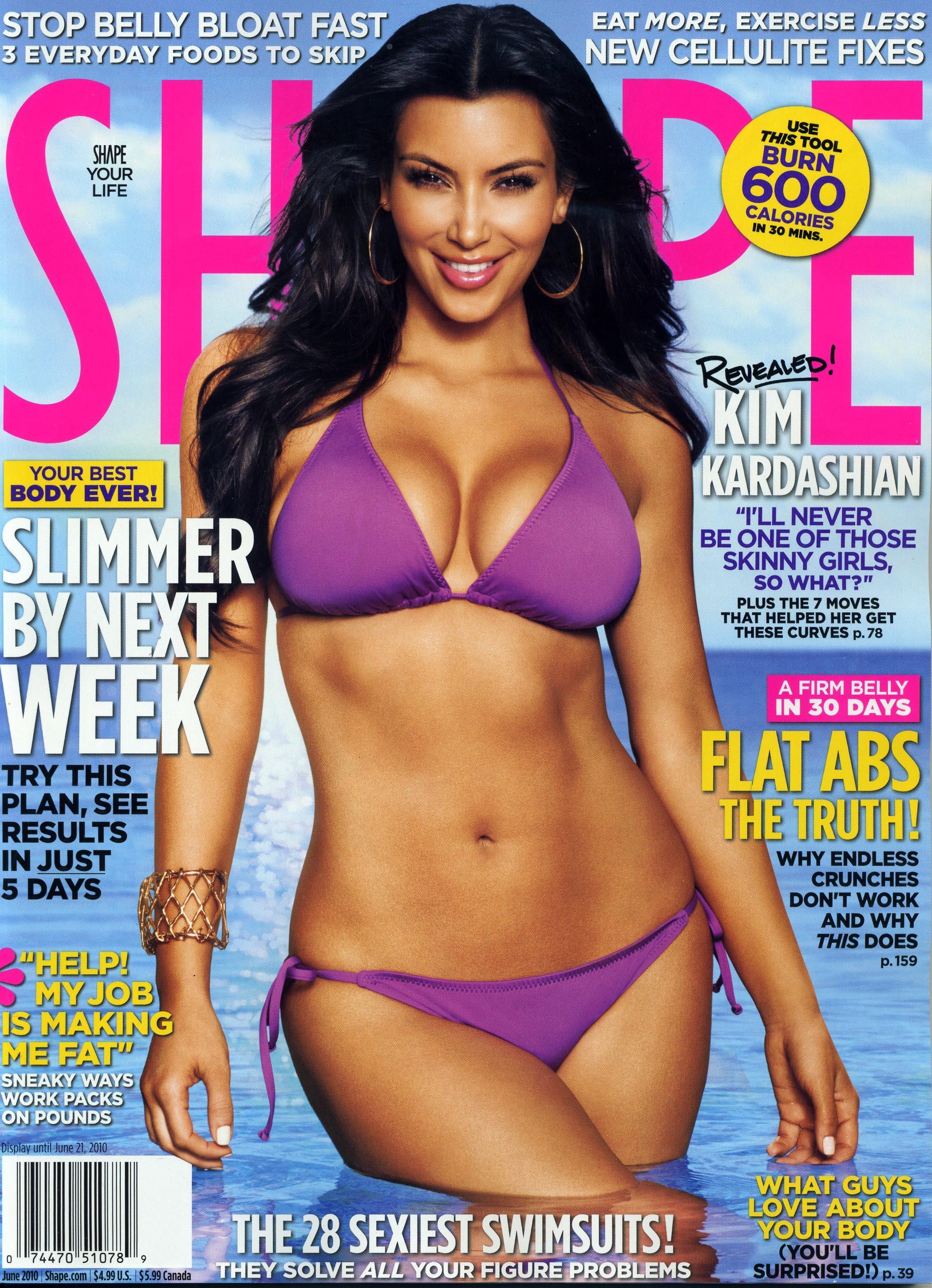 Kim Kardashian 2010 : kim-kardashian-cover-for-shape-magazine-june-2010-issue-scan-01