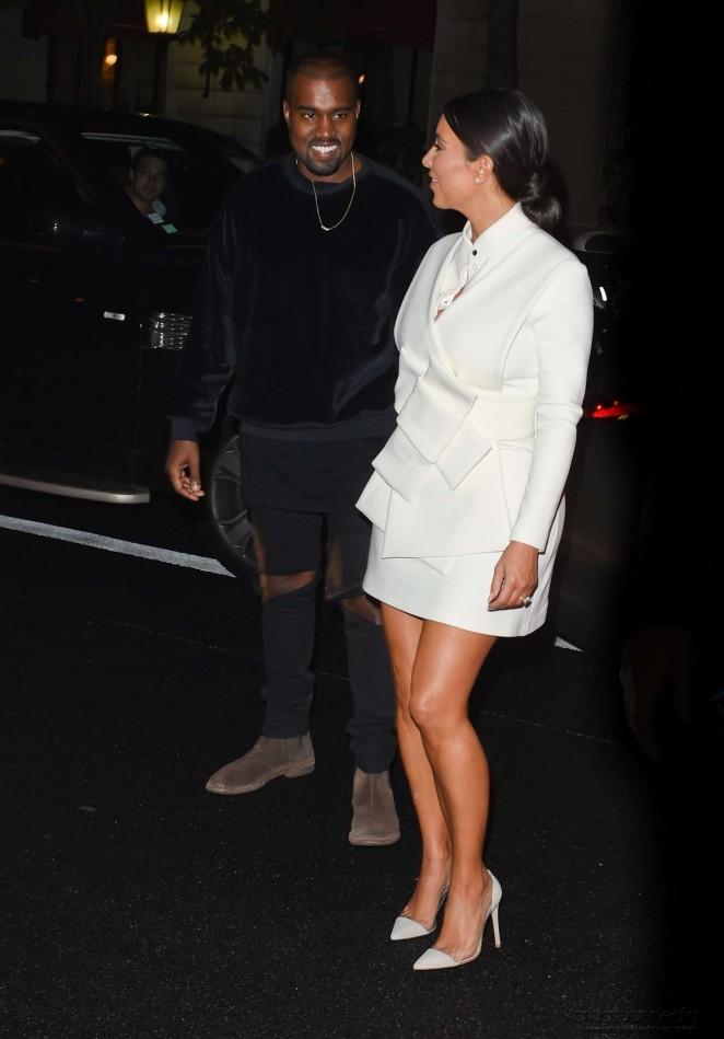 Kim Kardashian In White Dress At Paris Fashion Week 2014 07 Gotceleb