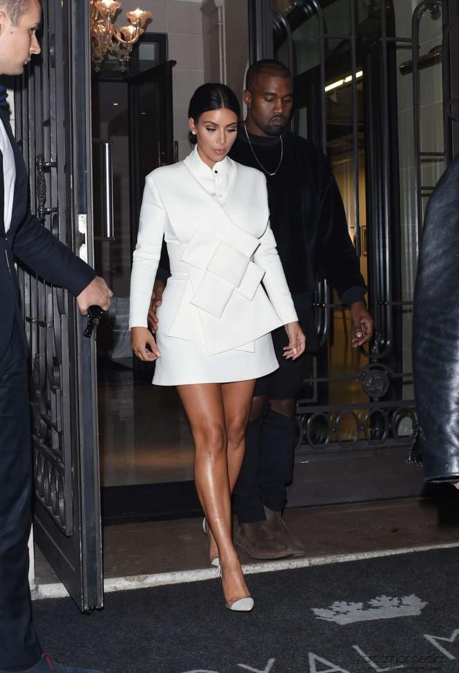 Kim Kardashian In White Dress At Paris Fashion Week 2014 11 Gotceleb