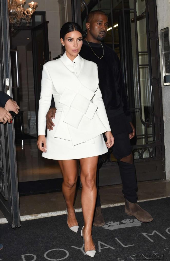 Kim Kardashian In White Dress At Paris Fashion Week 2014