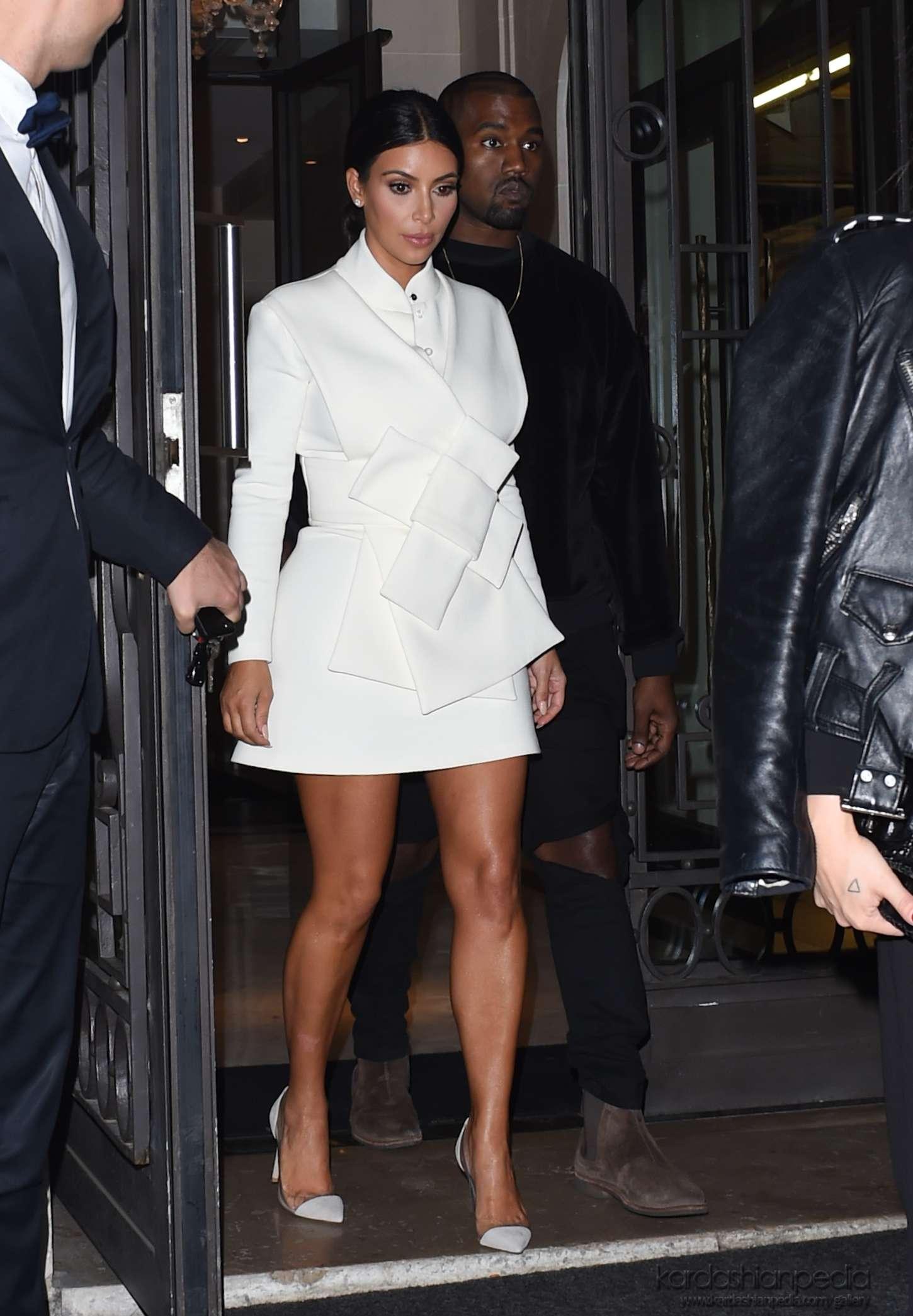 Kim Kardashian In White Dress At Paris Fashion Week 2014 15 Gotceleb