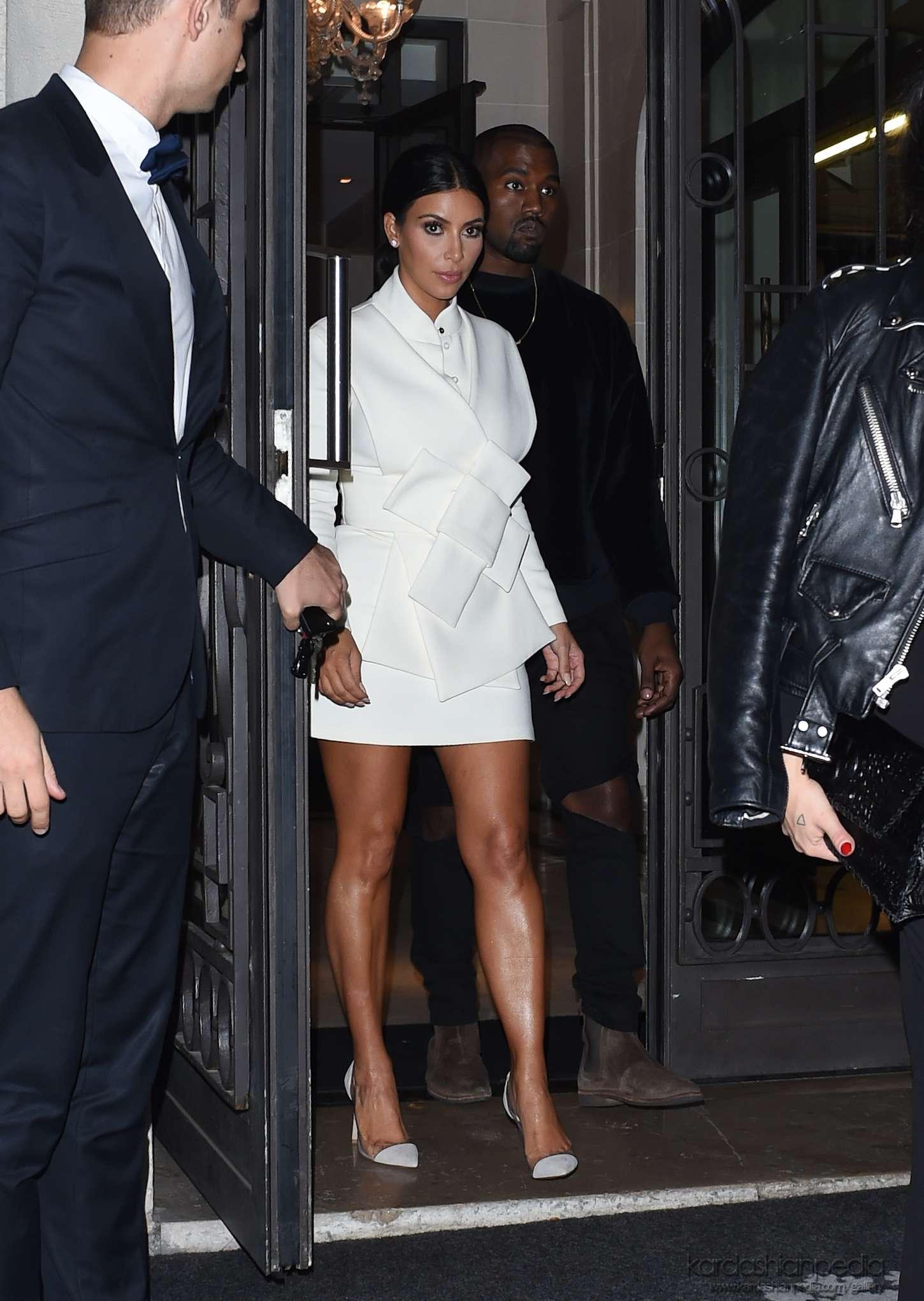 Kim Kardashian In White Dress At Paris Fashion Week 2014 17 Gotceleb