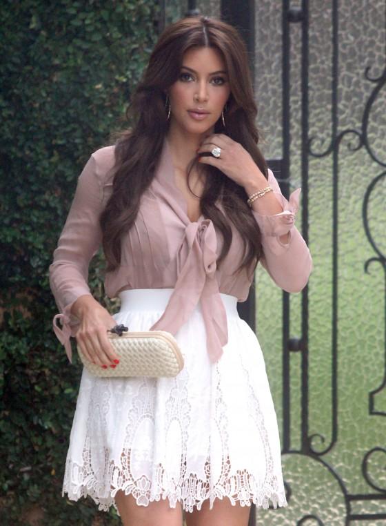 Kim Kardashian Hot In Short White Skirt in Beverly Hills