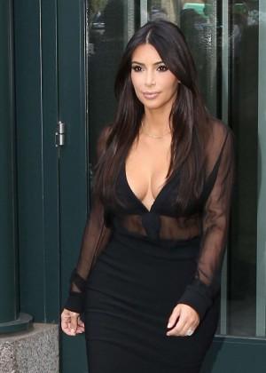 Kim Kardashian in Black Out in New York